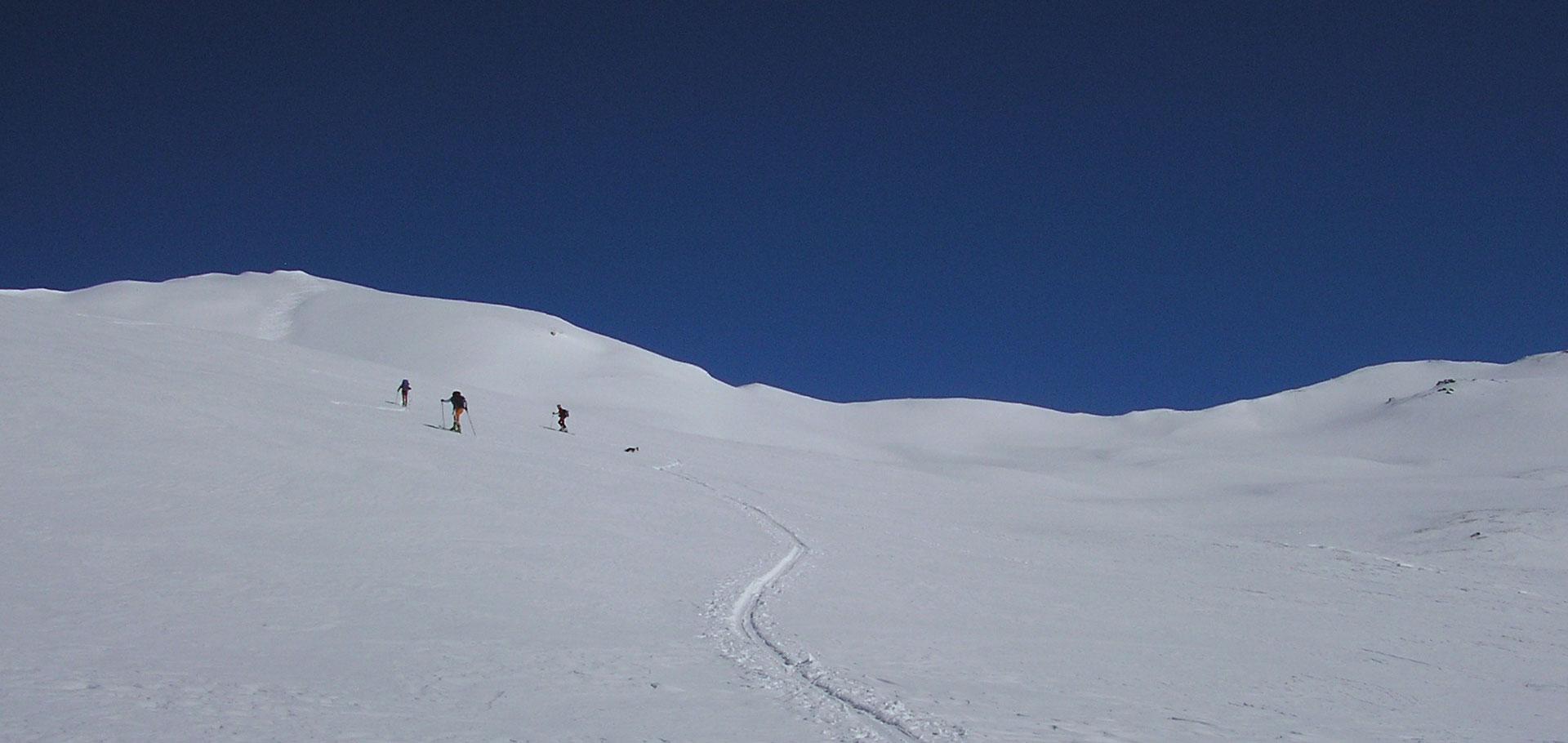 Sci alpinismo al cospetto del Monte Bianco